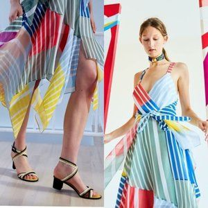 $695 TANYA TAYLOR Runway Colorful Silk Midi Dress